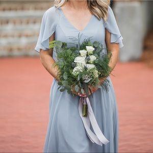 Azazie dusty blue bridesmaid dress